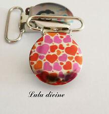 1 Pince bretelle, Attache tétine & doudou métal Coeurs rose violet & rouge 25 mm