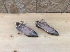 Valentino Rockstud Flats , Pewter Leather , Size EU 37.5 / US 7.5