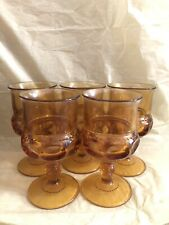 Set of 5 Indiana Glass Co. Kings Crown Amber Gold Wine Water Goblets - 5 3/4''
