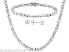 LCS DIAMOND TENNIS NECKLACE BRACELET SET + FREE  STUD EARRINGS!
