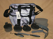 10 Piece Horse or Pony Grooming Kit Palm Comfort Tools Carry Tote Bag Grey Camo