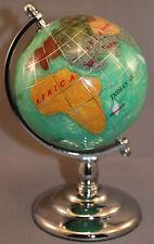 Genuine Multi-Gemstone Desktop Globe Chrome Base Green Pearl Globe Free S & H