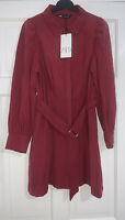 ZARA SS20 BURGUNDY PLEATED COLLARED SHIRT DRESS WITH BELT SIZE UK M BNWT