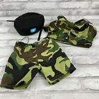 Build A Bear BAB Green Camo Military Outfit With Hat Pants Shirt Outfit Clothing