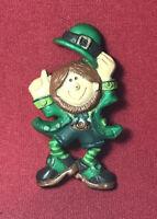 Vintage ST. PATRICK'S DAY Hallmark Cards  Holiday Pin Brooch DANCING LEPRECHAUN