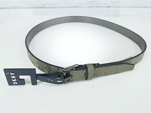 DKNY Womens Sz Large Studded Faux Leather Belt Olive Green Pebbled New