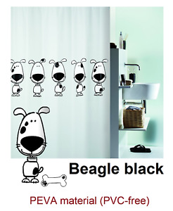 Spirella Beagle Black Dog Shower Curtain 70 7/8x78 11/16in 100% Peva Black White