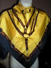 "Vtg. RALPH LAUREN Fine quality goods' Equestrian 100% silk scarf 36"" square NEW"