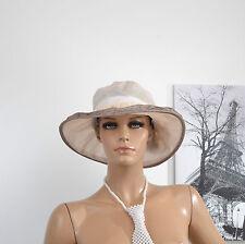 CHAPEAU Femme CLOCHE CAPELINE CEREMONIE MARIAGE BEIGE MARRON COCO zaza2cats.fr
