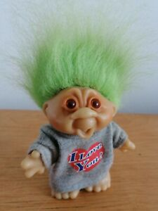 """DAM  5.5"""" APPROX TROLL I LOVE YOU GREEN HAIR VINTAGE 1986 JUMPER SWEATER"""