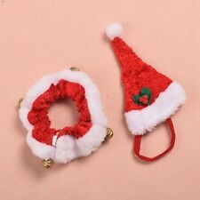Christmas Small Dog/Cat Santa Hat & Collar Set  Dress Up with Bell Xmas Gift