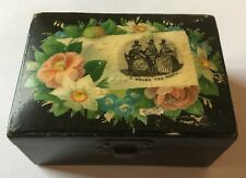 Victorian Black Lacquered Wooden Box - A Welsh Tea Party