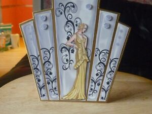 Art deco lady in gold with deco panels greeting card