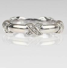 Tiffany & Co Diamond Signature X Ring 18K 750 White Gold Band E-F VS1 Ring Box