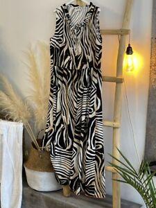 Ärmelloses Kleid Zebra Print Braun Schwarz One Size bis Gr schmale 42 NEU (R2)