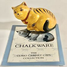 The Franklin Mint Curio Cabinet Cat Collection CHALKWARE Orange-yellow figurine