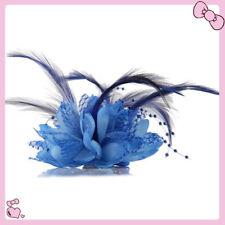 1X Grano de flor Fascinator  de la pluma Pico El Pelo Pinza Broche Pin Damas