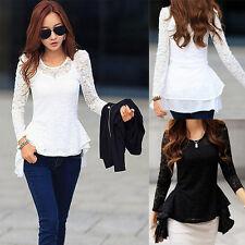 Women Shirts Blouse Ladies Long Sleeve Blouse Tops Lace Chiffon Bottoming Tops