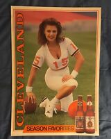 RARE VINTAGE 1991 STROH'S BEER CLEVELAND BROWNS POSTER MINT N O S - 26x18
