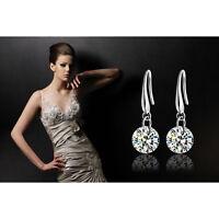 Fashion Women Silver Plated Ear Hook Crystal Zircon Rhinestone Earrings Jewelry