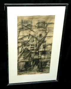 Austria US Charcoal Drawing Abstract Cityscape by Herta Galton (1914-2010)(ZiK)
