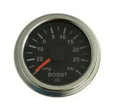 "Boost gauge 30 inHg to 30 psi, 2""/52mm, black/chrome, white LED, 001-BS-BC"