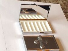 Swedish Cross DR66  Fine English Pewter On Mirrored 7 Day Pill box Compact