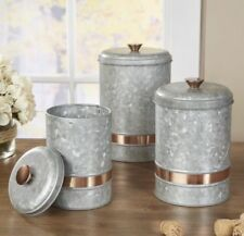 GALVANIZED CANISTERS SET/3 ~ TIN ANTQ STYLE STORAGE CONTAINER W/LID COPPER ACCNT
