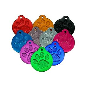 Laser Engraved Paw Print Pet id Tags   FREE UK Delivery   31mm
