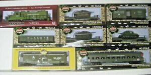 HO MILITARY TRAIN SET #RRM1005-3 -GP-20 LOCO WITH  CARS US ARMY TRAIN SET