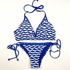 NWT Seafolly Tidal Wave 2-Piece Swimsuit Bikini Top & Bottom Sz 8 Blue Ray
