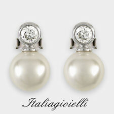 Orecchini Donna Argento 925 rodiato Oro Bianco con Perle e Brillanti 0,89 Kt