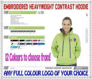 Heavyweight Contrast Custom Embroidered Work Wear Hooded Tops. FREE LOGO!
