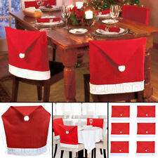 UK Sale Christmas Santa Hat Dining Chair Back Covers Party Xmas Table Decoration