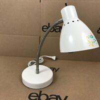 White & Chrome Gooseneck Dorm Desk Lamp Adjust Bendable Intertek G-2308 6.A2