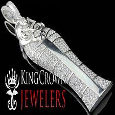 Real Sterling Silver Lab Diamond Egyptian Pharaoh King Tut Mummy Pendant Charm