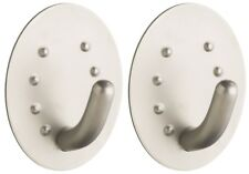 2 x Kitchen Craft Large Stainless Steel Self Adhesive Tea Towel Oval Holder Hook