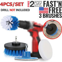 Power Scrubber Drill Brush Set Cleaner Spin Tub Shower Tile Grout Wall 4 Brushes
