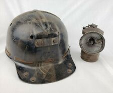 Vintage MSA Low Vein Tiger Stripe Comfo Cap Coal Miner Hard Hat Helmet & Light