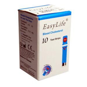 10 EASY LIFE BLOOD CHOLESTEROL METER/MONITOR TESTING STRIPS long Date+UK Seller
