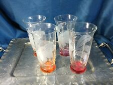 Set of 4 -  Clear  tumbler glass highball orange /red base frosted flowers
