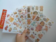6 sheets doll and Little bear  album diary calendar notebook PVC deco stickers