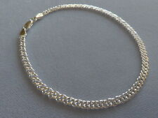 "10"" Sterling Silver Ankle Bracelet-Rombo 060-Made In Italy-925"