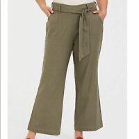 TORRID Olive Green Linen Wide Leg Pants 28R NWT Womens Plus High Waisted New 28