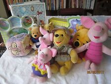 lot of Winnie the Pooh:  Puppet ,2 plates, 6 plush, baby gift, book