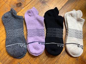 BOMBAS Merino Wool Ankle Socks, 4 Pack, LARGE, Black Charcoal Purple Winter