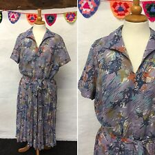 VINTAGE PURPLE BLUE ABSTRACT DRESS PLEATED SKIRT 50s 60s VOLUP PLUS SIZE 18 20