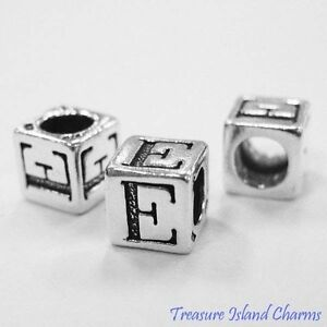Letter E 925 Solid Sterling Silver Alphabet 7mm Block Bead 5mm Hole Diameter