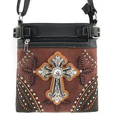 Justin West Conceal Carry Studded Floral Laser Cut Western Cross Handbag Purse