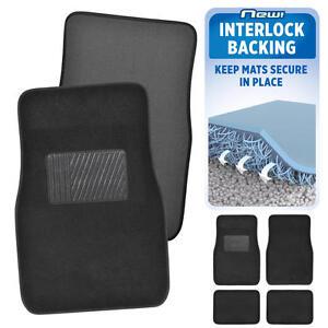 Black Car Floor Mats No Slip or Skid Lock-In-Place Backing 4pc Set Carpet